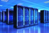 3D render illustration of the server room interior in datacenter in blue light poster