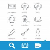 Coffee cup, butcher knife and wineglass icons. Meat grinder, whisk and vase linear signs. Heat-resistant, DEHP and BPA free icons. Video cam, book and magnifier search icons. Vector poster