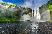 Stunning waterfall Skogafoss in Iceland in summer poster