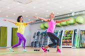 Two happy female fitness models dancing Zumba, doing aerobic exercises working out to lose weight in gym with colorful equipment in background. poster