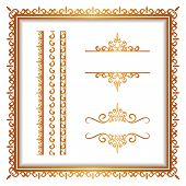 Vintage gold borders and frames set of decorative design elements golden embellishment on white poster
