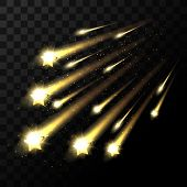 Vector falling stars on transparent background. Space star light shooting in dark. Twinkle star in universe illustration poster