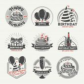 Happy birthday vintage isolated label set vector illustration. Birthday party logos with balloon, holiday cake, gift box and glass of champagne. Happy birthday for my love concept badge collection. Happy birthday and anniversary logo. Happy birhtday poster