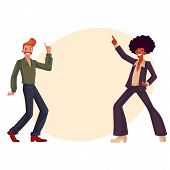 Two guys, in afro wig and with a beehive, wearing 1970s style clothes dancing disco, cartoon vector illustration on background with place for text. Afro wig, beehive, flared pants, retro disco party poster