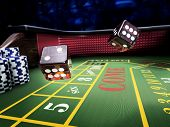 dices thrown on craps table at casino - 3D rendering poster