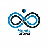 Infinity sign with two hands touching each other infinite friendship concept forever friends vector creative logo. poster