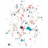 Hand-made grunge colorful drops texture. Abstract splatters and stains on white isolated  background. Artistic messy painting for your design. Vector art. poster