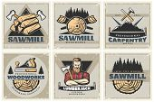 Set of six square lumberjack posters with professional woodworks labels sawmill emblems and wood decorative symbols vector illustration poster