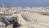 Roof footbridge for pedestrians at Metropol Parasol building Seville Spain poster
