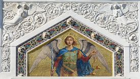 Mosaic of Saint Michael on the facade of the Serbian Orthodox Church in Trieste.