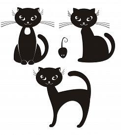 Illustration - cartoon illustration of a black cat