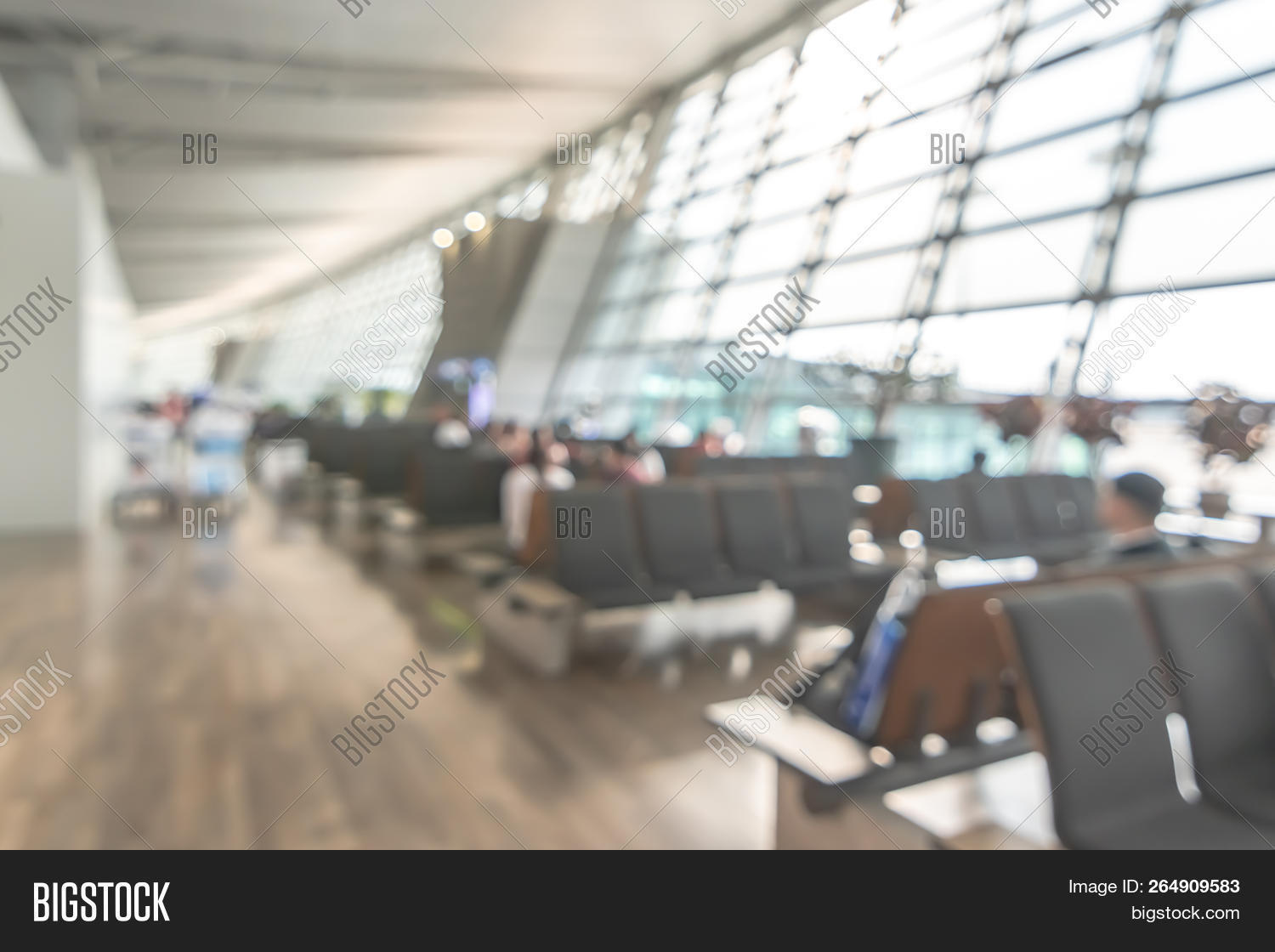 Airport Blur Background For Air Transportation Travel Concept With Blurry Bench  Seats For Traveller