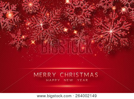 Christmas Background With Shining Golden Snowflakes And Snow. Merry Christmas Card Illustration On R