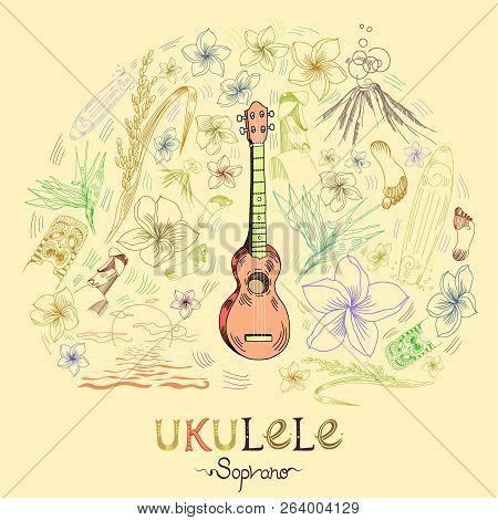 Hawaiian Guitar - Ukulele Soprano In Round Shape Pattern In Engraved Style. Pale Orange Ukulele Is I