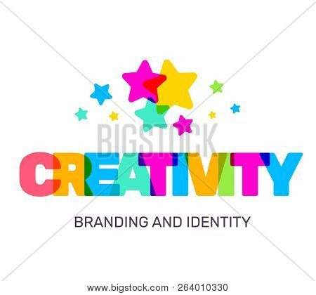 Vector Creative Illustration Of Multicolor Creativity Business Word Lettering Typography On White Ba