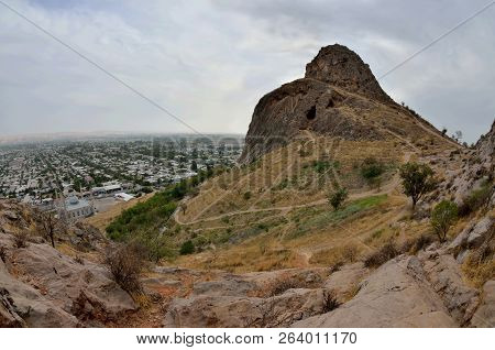 Sacred Muslim Mountain Suleiman-too In Osh,kirgyzstan,fergana Valley. Its Five Peaks And Slopes Cont