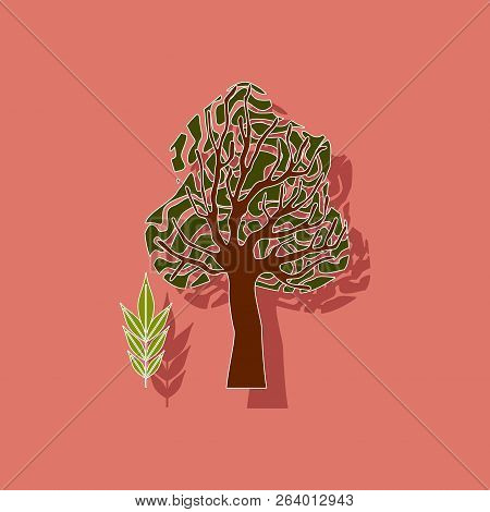 Paper Sticker On Stylish Background Plant Fraxinus
