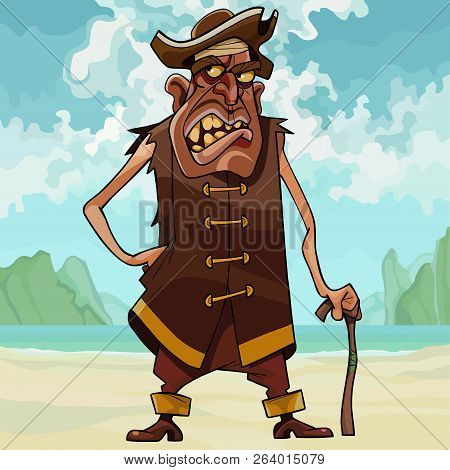 Cartoon Angry Toothy Man In Pirate Clothes Standing On The Beach