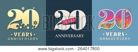 20 Years Anniversary Celebration Set Of Vector Icon, Logo. Template Graphic Design Elements For 20th