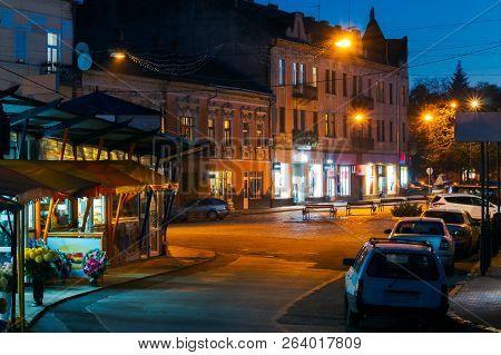 Uzhgorod,ukraine - 25 Oct, 2014: Empty Petefi Square In Evening. Beautiful Cityscape Of Uzhgorod