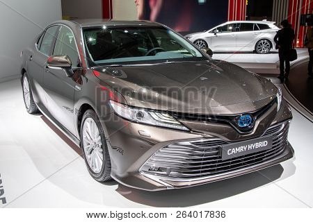 Paris - Oct 2, 2018: New Toyota Camry Hybrid Car Reveiled At The Paris Motor Show.