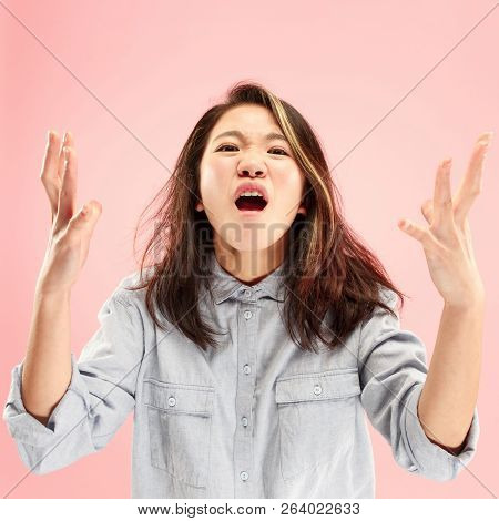 Screaming, Hate, Rage. Crying Emotional Angry Woman Screaming On Pink Studio Background. Emotional,