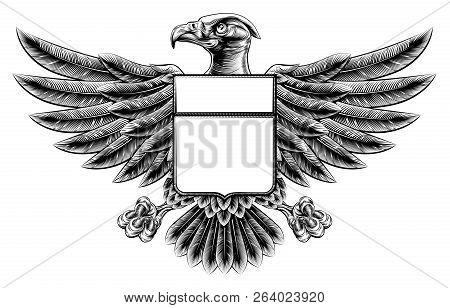 Woodcut Or Woodblock Style Wing Shield Eagle Insignia Motif
