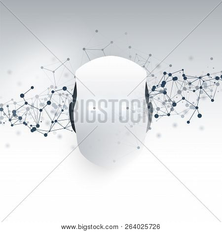 Artificial Intelligence, Internet Of Things And Smart Technology Concept Design With Robot Head - Ve