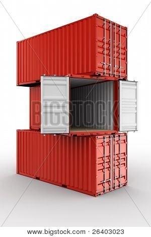 3d rendering of 3 stacked shipping containers with the middle container open
