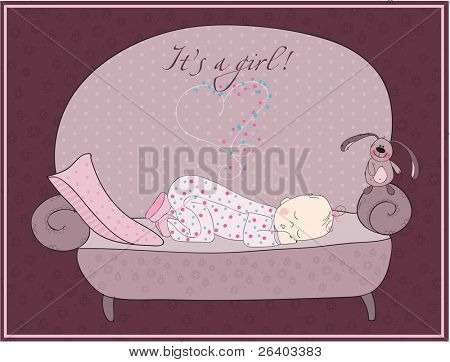 Newborn Baby Girl Sleeping Card in pink