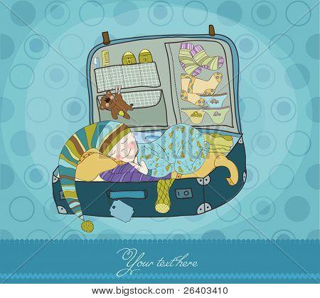 Baby Boy sleeping in Koffer Anreise Karte