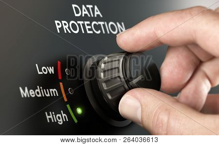 Cybersecurity Concept. Man Switching Personal Data Protection System To The Highest Position.
