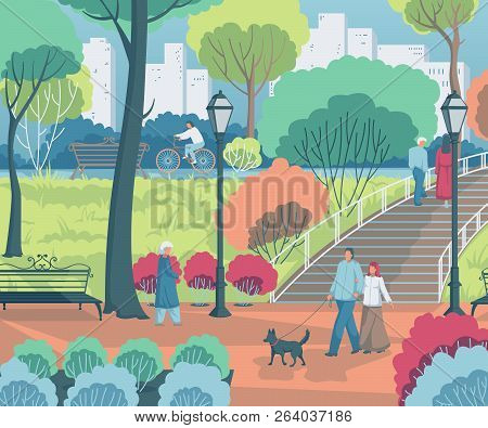 People Walking In The City Park. Landscape With Trees, Bushes, Benches, Lanterns. Vector Illustratio