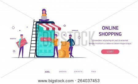 Modern Flat Concept For Online Shop Payment Web Landing With Little People Creating Shop. Buy Button