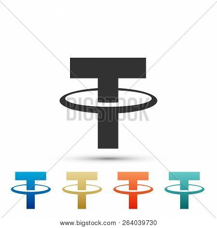 Cryptocurrency Coin Tether Usdt Icon Isolated On White Background. Physical Bit Coin. Digital Curren