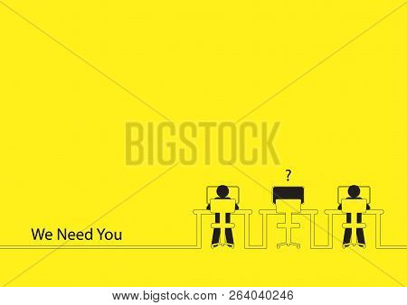 Line Art Illustration Of Two People Working On The Computers With One Empty Desk. Job Vacancy, New R