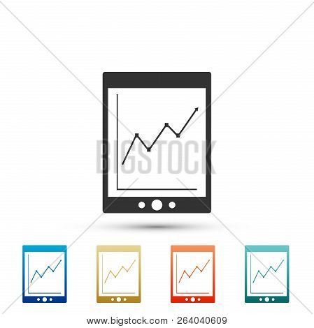 Tablet With Statistic Graph Chart Icon Isolated On White Background. Financial Chart And Graph Sign.