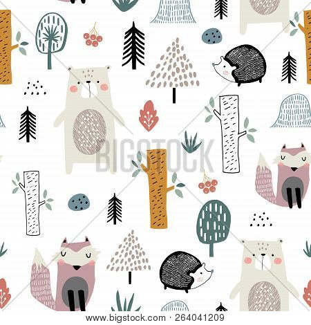 Seamless Childish Pattern With Cute Bear, Fox, Hedgehogs In The Wood. Creative Kids Scandinavian Sty