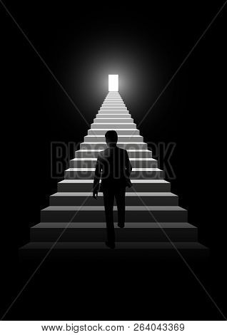Silhouette Illustration Of A Man Walking On A Stairway Leading Up To A Bright Door