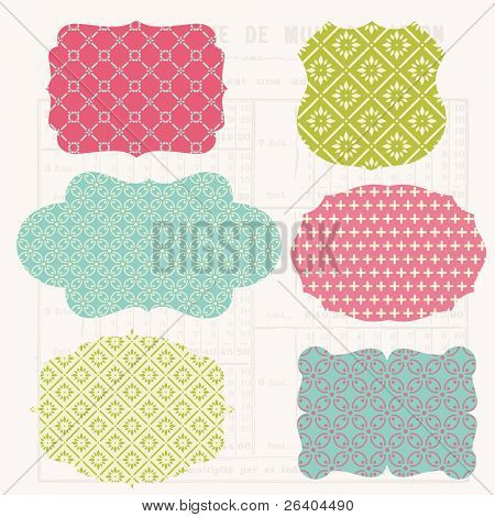 Vintage Colorful Design elements for scrapbook - Old tags and frames in vector