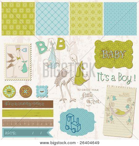 Scrapbook Vintage design elements - Baby Boy Announcement