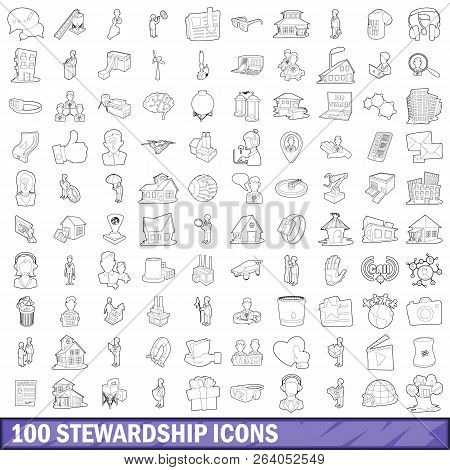 100 Stewardship Icons Set In Outline Style For Any Design Illustration