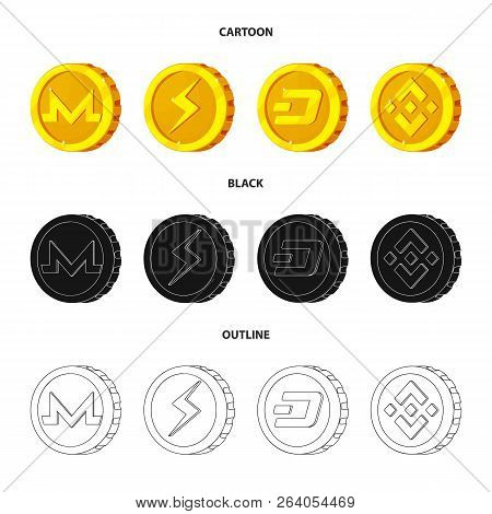 Vector Illustration Of Cryptocurrency And Coin Logo. Set Of Cryptocurrency And Crypto Stock Symbol F