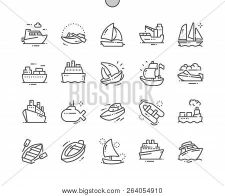 Ships And Boats Well-crafted Pixel Perfect Vector Thin Line Icons 30 2x Grid For Web Graphics And Ap