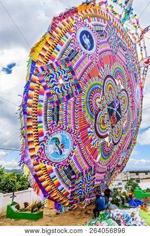 Santiago Sacatepequez, Guatemala - November 1, 2017: Giant Kite Looms Over Graves During Giant Kite