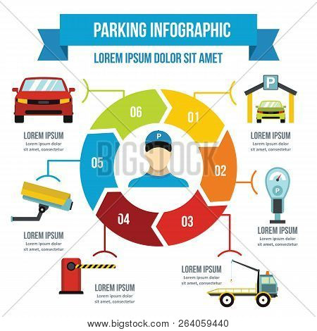 Parking Service Infographic Banner Concept. Flat Illustration Of Parking Service Infographic Poster