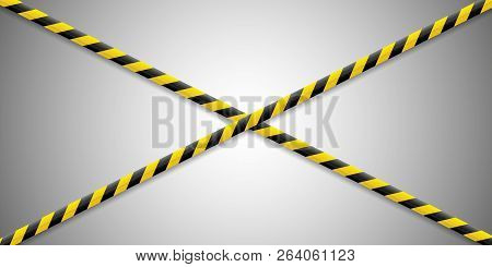 Warning Lines. Caution It Is Dangerous To Health. Warning Barricade Tape, Yellow-black, On An Isolat