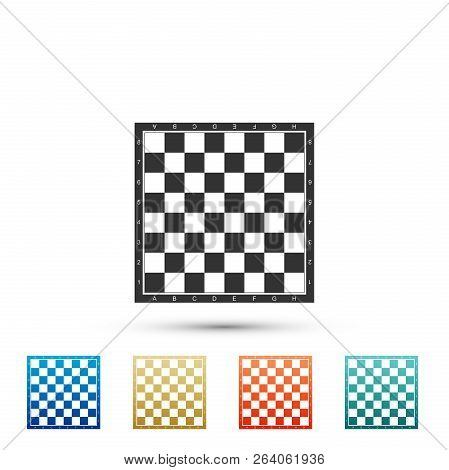 Chess Board Icon Isolated On White Background. Ancient Intellectual Board Game. Set Elements In Colo