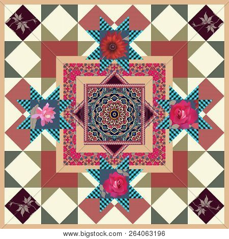 Beautiful Tablecloth With Flower Mandala, Roses, Leaves And Ornamental Frame In Patchwork Style. Pil