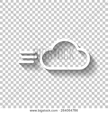 Windy Icon. Linear, Thin Outline. White Icon With Shadow On Tran